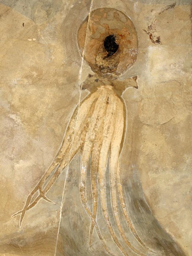 ภาพฟอลซิลปลาหมึก ที่ถูกขุดค้นพบที่ประเทศเลบานอน ในปี 2009 (ที่มา : www.nrk.no)
