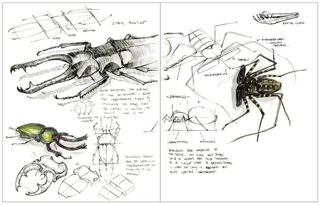 ตัวอย่างการร่างภาพสิ่งมีชีวิต (Organic Forms) (ที่มา : Kickstarter.com)