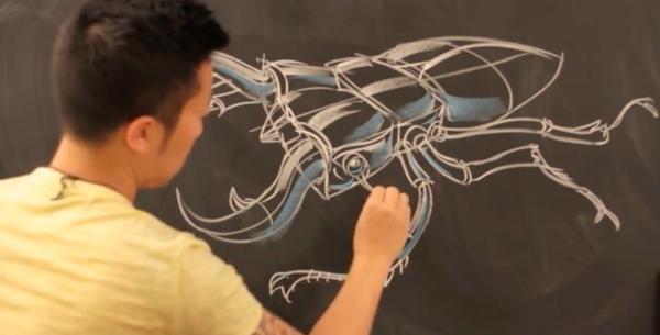 ปีเตอร์ ฮัน กับภาพวาด Dynamic Sketching (ที่มา : Kickstarter.com)