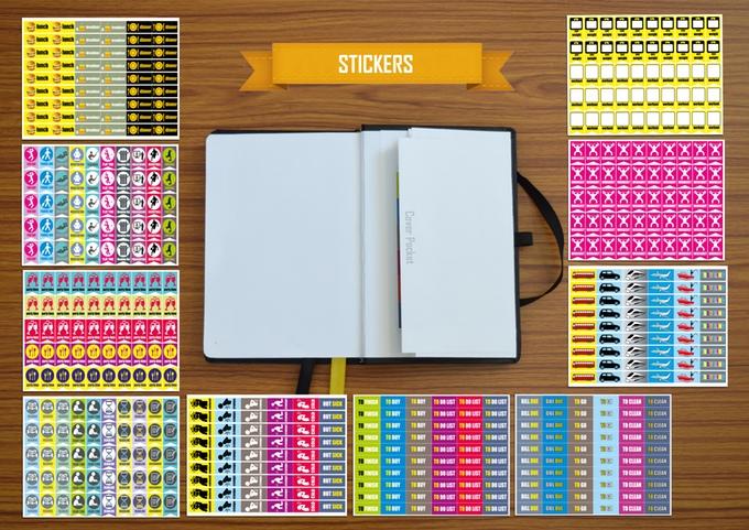 ชุดสติกเกอร์ทั้งหมด 11 แผ่น ที่มาพร้อมกับสมุด Focus Planner ที่มา : Kickstarter.com