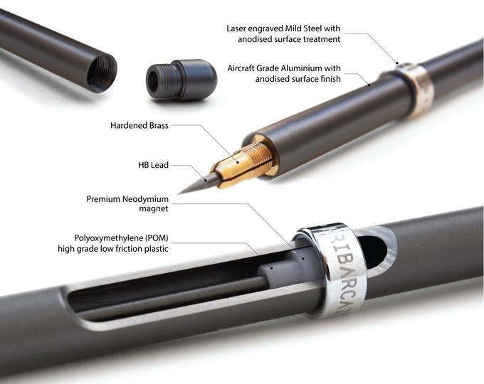 ส่วนประกอบของดินสอ MAGNO ประกอบไปด้วยส่วนประกอบหลักทั้งหมด 4 ส่วน ที่มา : kickstarter.com