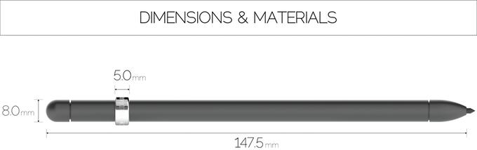 ดินสอ MAGNO มีขนาดความยาว 147.5 มม. และเส้นผ่านศูนย์กลาง 80 มม. ที่มา : kickstarter.com