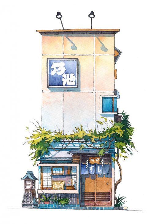 ผลงานอันดับที่ 10 ร้านซูชิ Noike sushi restaurant from Yanaka district