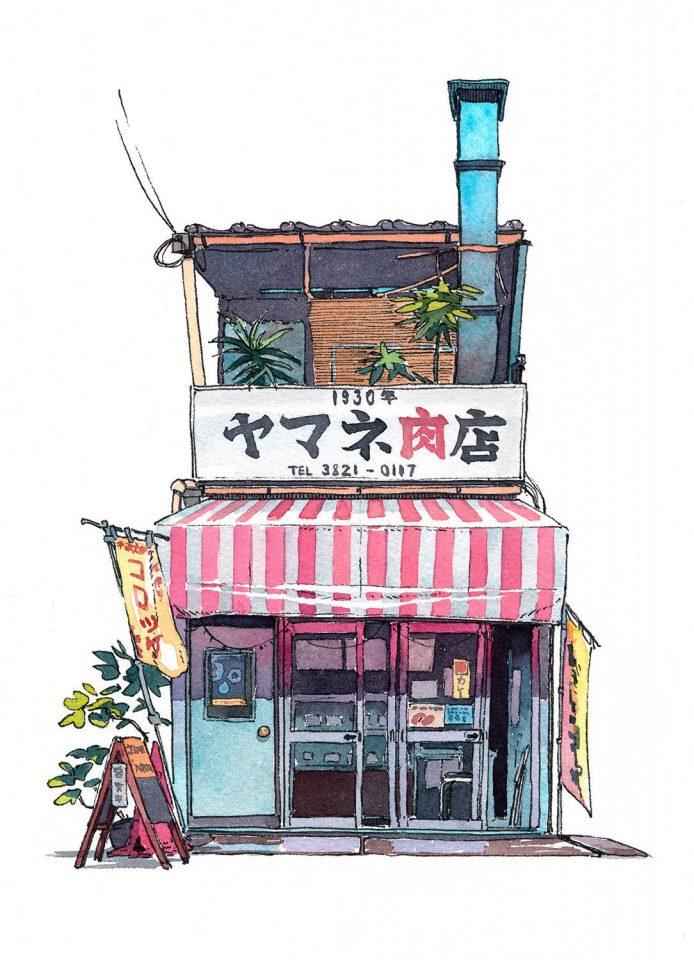 ร้านขายเนื้อย่าน 01 Yamane meat shop from Nippori district