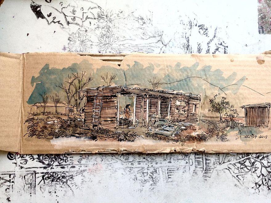 ลายเส้นวาดเมืองบนกระดาษลูกฟูก เศษลังที่เก็บได้ข้างทาง ที่มา : Borepanda.com