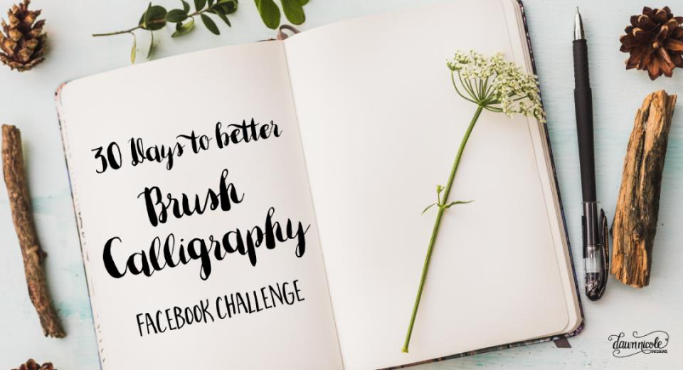 โปรเจ็กต์ 30 Days To be Better Brush Calligrapy เริ่มเมื่อเดือนมกราคมที่ผ่านมา แถมด้วย Workshop และ Worksheet สำหรับหัดเขียน Bush Calligraphy รวมทั้งหมด 30 ตอน ที่มา : bydawnnicole.com