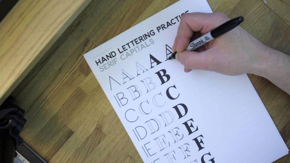ตัวอย่าง Worksheet ของ Ian Barnard แบบตัวอักษร Serif ที่มา : ianbarnard.net