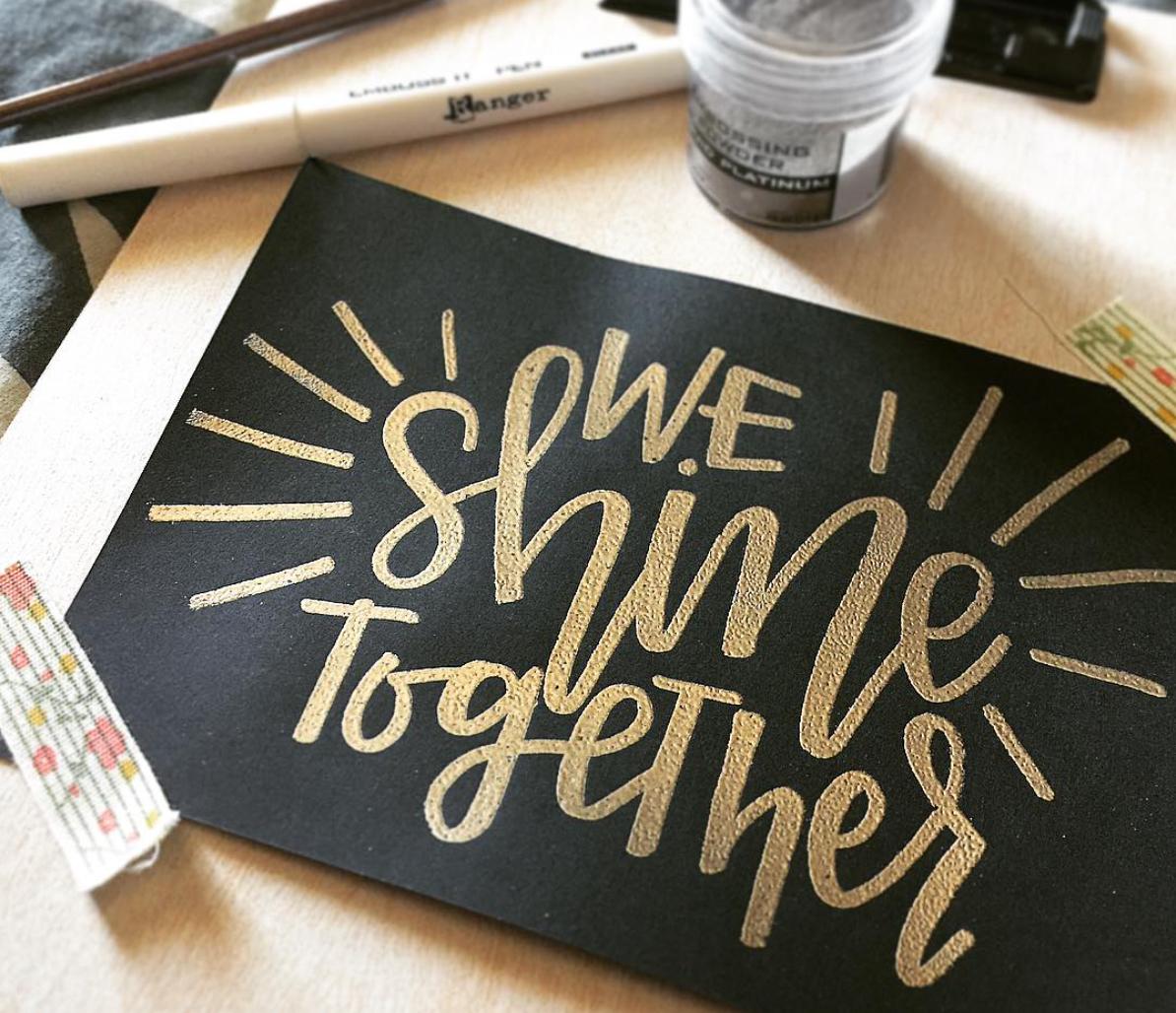 ภาพ Embossing Calligraphy  ที่มา : @inklecticdesigns