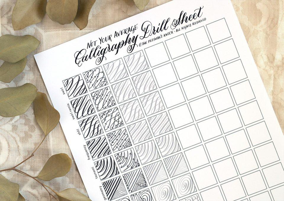Worksheet แบบ Drill Calligraphy สำหรับนักเขียนอักษรวิจิตรที่ต้องการฝึกฝีมือในการลากเส้นหนักเบาตาม Pattern