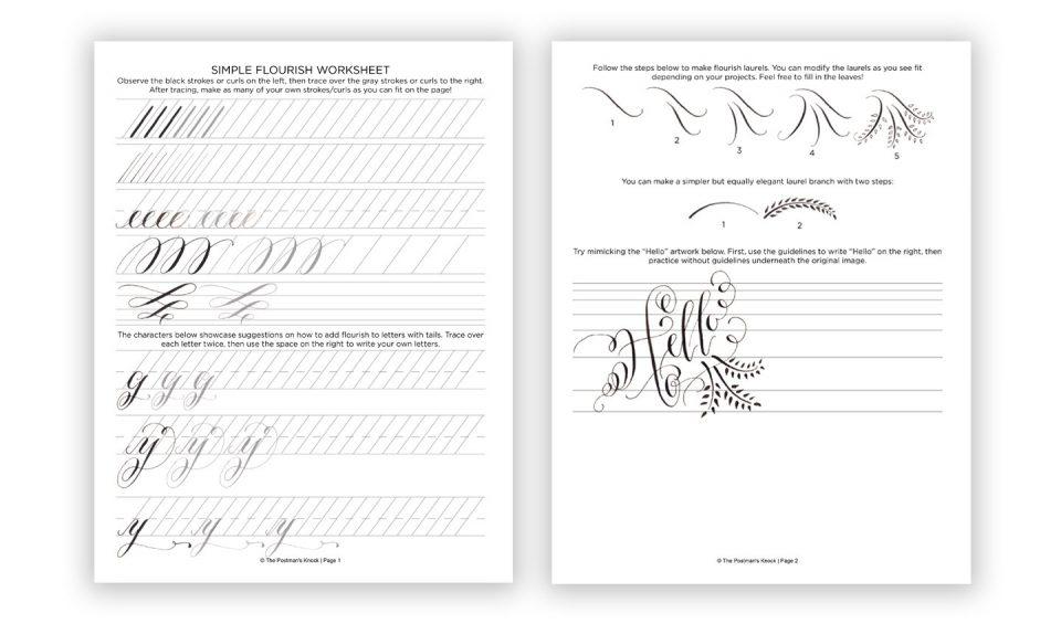 Worksheet แบบ Calligraphy Flourishing สำหรับนักหัดเขียนอักษรวิจิตรไปหัดลากเส้นหางตัวอักษร และการตัวอักษร ที่มา : thepostmanknock.com